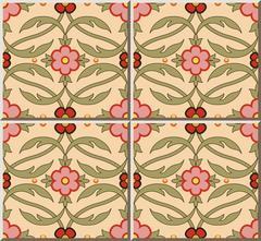Ceramic tile pattern of garden pink flower curve leaf vine Stock Illustration