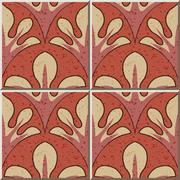 Ceramic tile pattern of crinsom curve nature leaf cross Stock Illustration