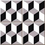 Ceramic tile pattern of vintage cubic square Stock Illustration