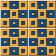 Ceramic tile pattern of blue yellow square round geometry Stock Illustration