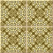 Ceramic tile pattern of round yellow kaleidoscope cross Stock Illustration