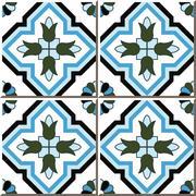 Ceramic tile pattern of cross blue flower Stock Illustration