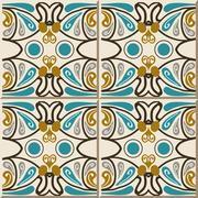 Ceramic tile pattern of oval round curve cross line Stock Illustration