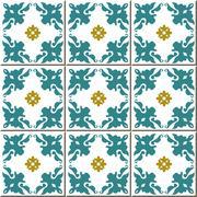 Ceramic tile pattern of flower kaleidoscope cross Stock Illustration