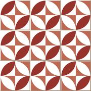 Ceramic tile pattern of red round square cross geometry Stock Illustration