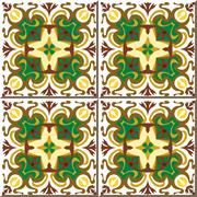 Ceramic tile pattern of green brown curve round flower Stock Illustration