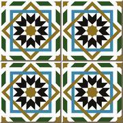 Ceramic tile pattern of Islam star square cross frame Stock Illustration