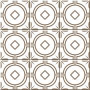 Ceramic tile pattern of golden round cross flower frame Stock Illustration