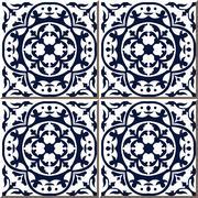 Ceramic tile pattern of blue round curve vine Stock Illustration