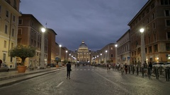 Photographer takes a shot of st peters from via conciliazione, rome Stock Footage
