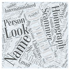 Internationalized Domain Names and Homograph Attacks word cloud concept Stock Illustration