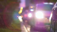 Blurred car lights of night city, Bangkok Stock Footage