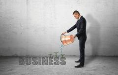 Businessman pouring water from bucket to 'buisness' word with green plants Stock Photos