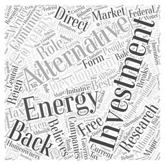 Investment into Alternative Energy Research and Development word cloud concept Stock Illustration