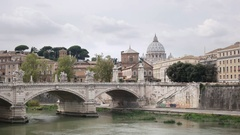 The dome of st peter's and tiber river from castel santangelo in rome, italy Stock Footage