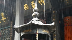 China Taoist Shrine top in heavy rain Stock Footage