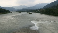 China Dujiangyan irrigation system, the Yuzui or Fish Mouth Levee Stock Footage