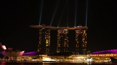 Laser Show at Marina Bay Waterfront in Night Singapore City Stock Footage