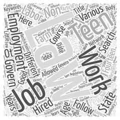 Searching For Perfect Teen Jobs word cloud concept Stock Illustration