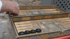 Arabic backgammon game in old city, jerusalem Stock Footage