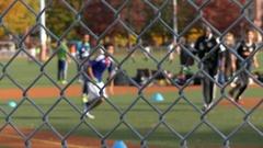 Teens trainig soccer field Stock Footage