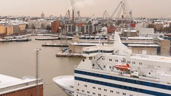 Time lapse of traffic at the West harbor in Helsinki, Finland Stock Footage