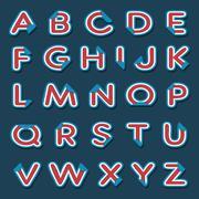 Alphabet letters with folded corner Stock Illustration