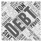 What is a non profit debt consolidation firm word cloud concept Stock Illustration