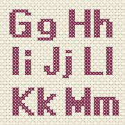 Cross stitch alphabet and number. Stock Illustration