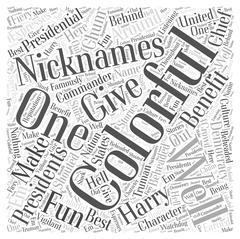 The Most Colorful Presidential Nicknames word cloud concept Stock Illustration