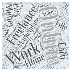 Online Freelance Work Marketplace Put your skills to earn money word cloud conce Stock Illustration
