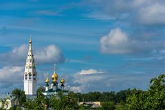 The Golden domes of the Church ensemble in Plyos, Ivanovo region. Stock Photos
