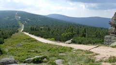 Mountain trail in Karkonosze/Krkonose mountains Stock Footage