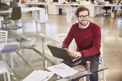 Smiling businessman working at laptop in office Stock Photos