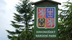 "Signboard in Czech language: ""The Krkonossky National Park"" Stock Footage"