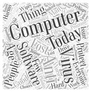 Protect Your Computer With Anti Virus Computer Software word cloud concept Stock Illustration