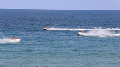 Sea water and jet ski in Haad Rin beach before full moon party. Phangan,Thailand Stock Footage