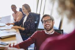 Business people talking in meeting Stock Photos