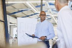 Businessman at flipchart leading meeting in conference room Stock Photos