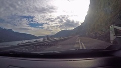 Landslide of rock on roadway , footage from car in motion Stock Footage