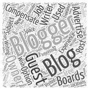 Using Guest Bloggers word cloud concept Stock Illustration