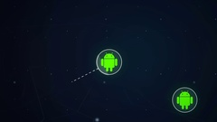 Android Icon Symbol Network Connection Technology Loop Animation 4K Stock Footage