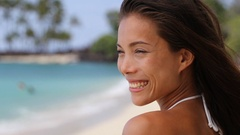 Beach asian beauty woman serene relaxing on tropical beach Stock Footage