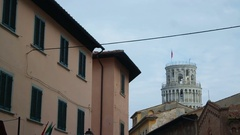 Leaning Tower Pisa. View from the town Stock Footage