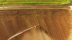 Timelapse AERIAL of a sprinkling machine on a salad field Stock Footage