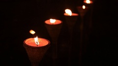 Traditional wooden torch flame at night Stock Footage