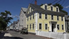 Typical timber houses on Howard Street in Salem, MA. Stock Footage