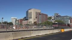 A MBTA Red Line train (w audio) crossing Longfellow Bridge in Boston, MA. Stock Footage