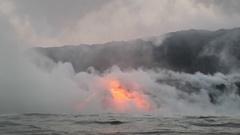 Lava ocean - flowing lava reaching ocean on Big Island, Hawaii volcano eruption Stock Footage