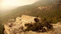 Ruins of Monolithos Caste with the nice light of a sunset Stock Footage